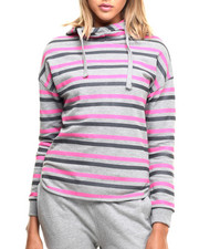 Women - Striped French Terry Funnel Neck Hoodie