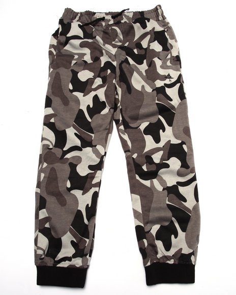 Lrg - Boys Black Tree Tracker Camo Fleece Pant (8-20)