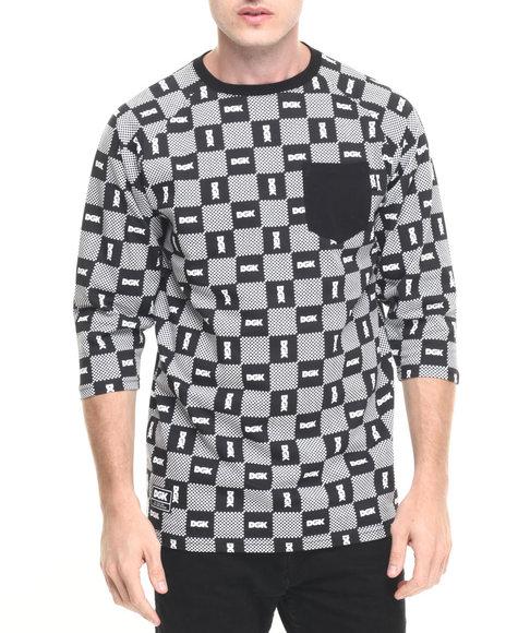 Dgk Men Checkers Custom 3/4 Sleeve Pocket Knit Tee Black Large