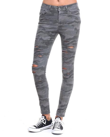camo slits twill high waisted skinny pant