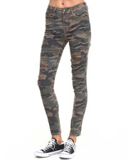 Women - Camo Slits Twill High Waisted Skinny Pant
