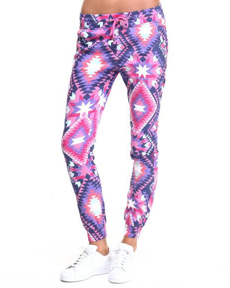 Soho Babe - Women Purple Aztec Print Twill Jogger