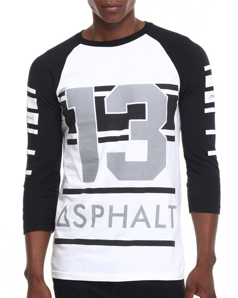 Asphalt Yacht Club - Men Black,White Beam Raglan Tee
