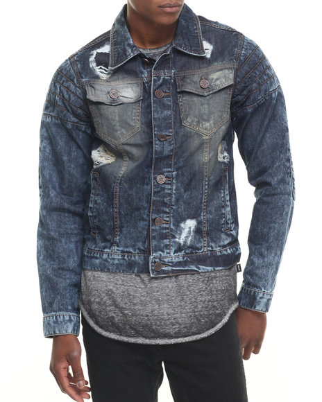 Buyers Picks - Men Medium Wash Rip & Repair Patched Denim Jacket