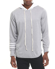 Men - Sleeve - Stripe Elongated Pullover Hoodie