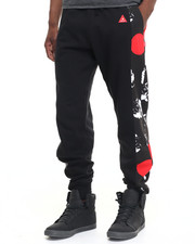 Men - Side Panel Dot Print Jogger Sweatpants