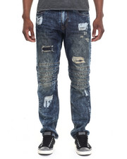 Men - Rip & Repair Biker - Style Denim Jeans