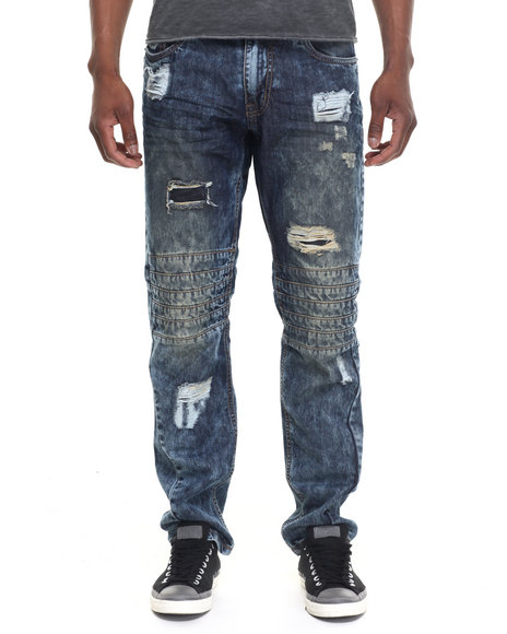 Buyers Picks - Men Medium Wash Rip & Repair Biker - Style Denim Jeans