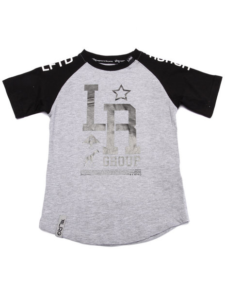 Lrg - Boys Grey Monogram Baseball Tee (4-7)
