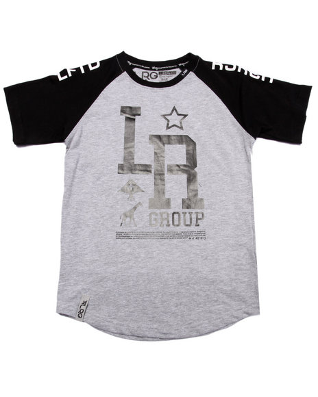 Lrg - Boys Grey Monogram Baseball Tee (8-20)