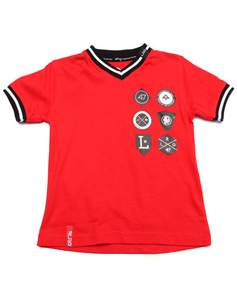 Lrg - Boys Red Shield Patch Tee (2T-4T)