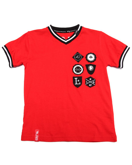 Lrg - Boys Red Shield Patch Tee (4-7)