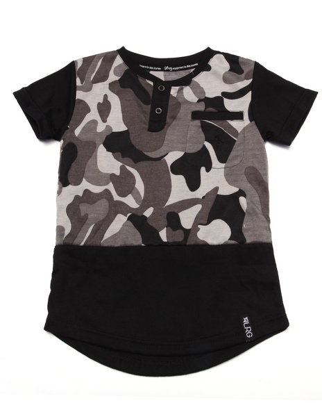 Lrg - Boys Black Tree Tracker Camo Henley (2T-4T)