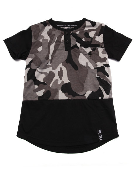 Lrg - Boys Black Tree Tracker Camo Henley (4-7)