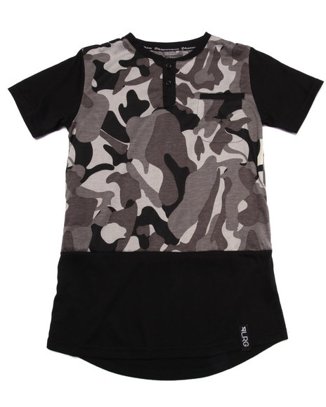 Lrg - Boys Black Tree Tracker Camo Henley (8-20)