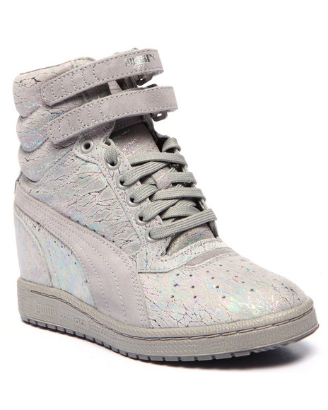 Puma - Women Grey Sky Wedge Iri Suede Sneakers