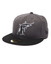 Men - Florida Marlins MLB Stock Cooperstown Heather Graphite Black 9Fifty Snapback Cap