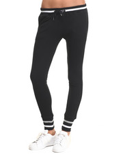 Bottoms - Striped Trim French Terry Jogger