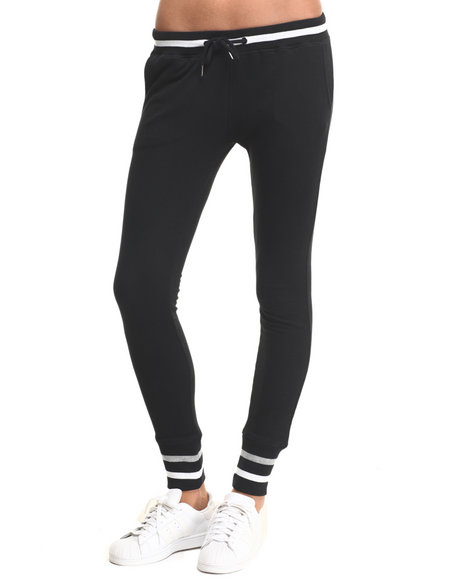 Soho Babe - Women Black Striped Trim French Terry Jogger