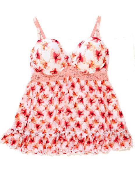 Drj Lingerie Shoppe - Women Pink Lace Trim Floral Babydoll (Plus)