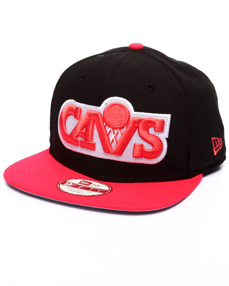 New Era - Men Black,Red Cleveland Cavaliers Hardwood Classics Stock Black Lava Red 9Fifty Snapback Cap - $27.99