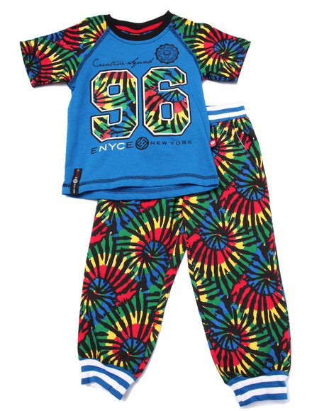 Enyce - Boys Blue 2 Pc Tie Dye Tee & Jogger Set (2T-4T)