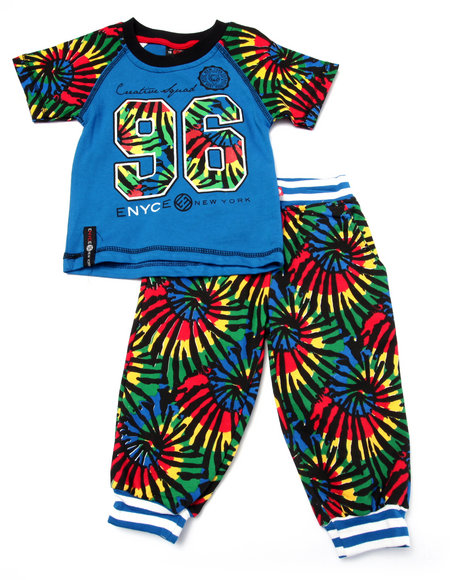 Enyce - Boys Blue 2 Pc Tie Dye Tee & Jogger Set (Infant)