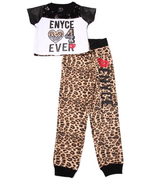 Enyce Girls 2 Pc Eynce 4Ever Tee & Animal Print Joggers Set (46X) Animal Print 4