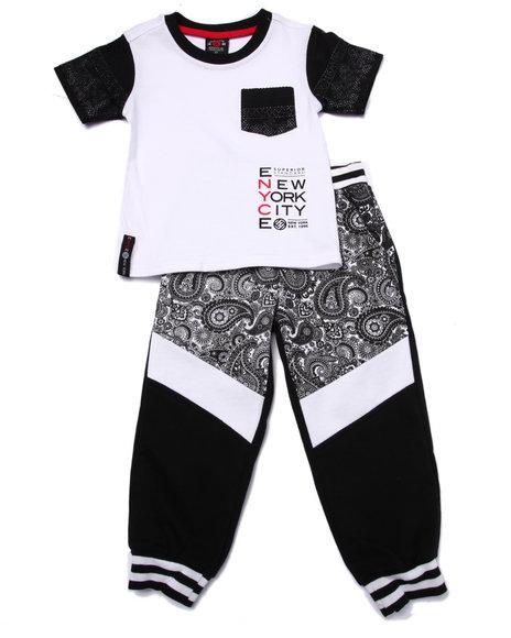 Enyce - Boys Black 2 Pc Bandana Tee & Jogger Set (2T-4T)