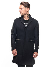 Men - J-Crow Wool Overcoat w Leather Sleeves
