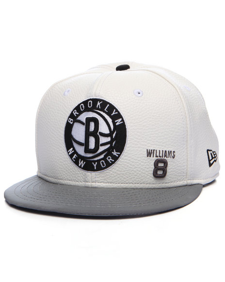 New Era Men Brooklyn Nets Player Faux Leather Custom Snapback Hat White