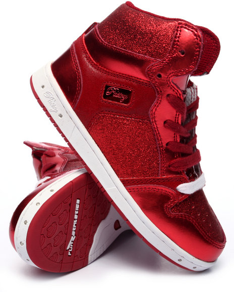 Pastry - Girls Red Glam Pie Glitter Girls Sneaker (10-4)