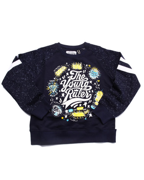 Parish - Boys Navy The Young Rulers Speckle Print Raglan Sweatshirt (8-20)