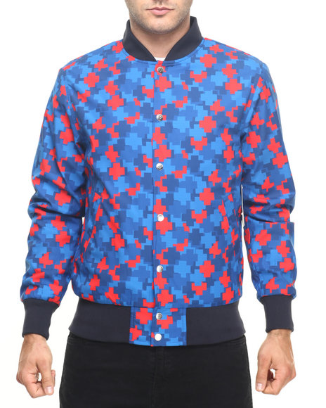 Pink Dolphin - Men Blue Cluster Satin Jacket
