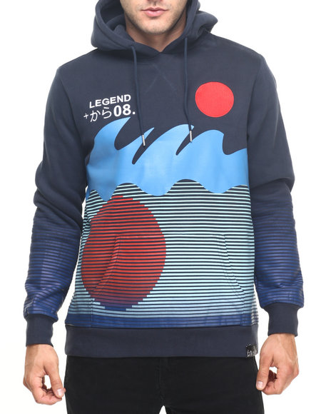 Pink Dolphin - Men Navy Rising Sun Pullover Hoodie