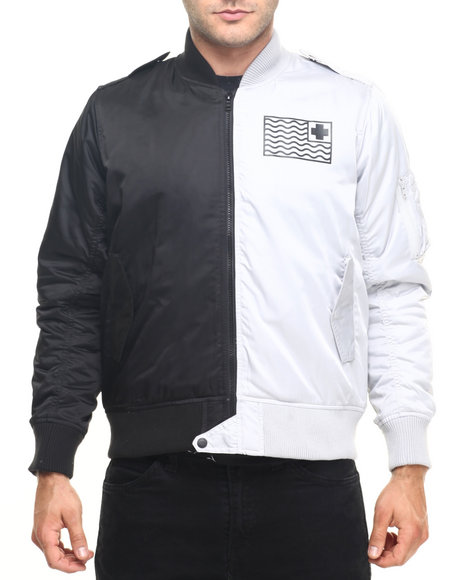 Pink Dolphin - Men Black Flag Bomber Jacket - $136.99