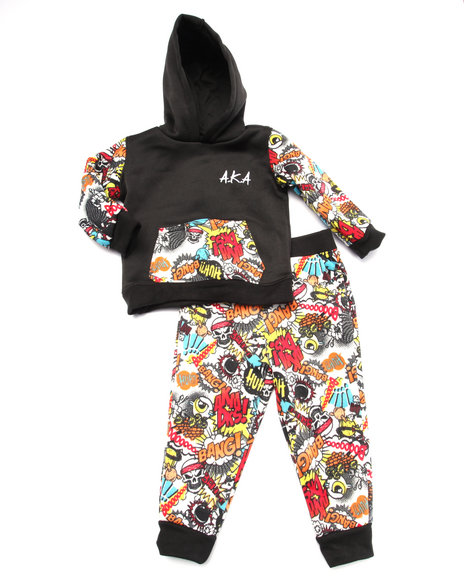 Akademiks - Boys Multi 2 Pc Set - Comic Print Hoody & Joggers (Infant)
