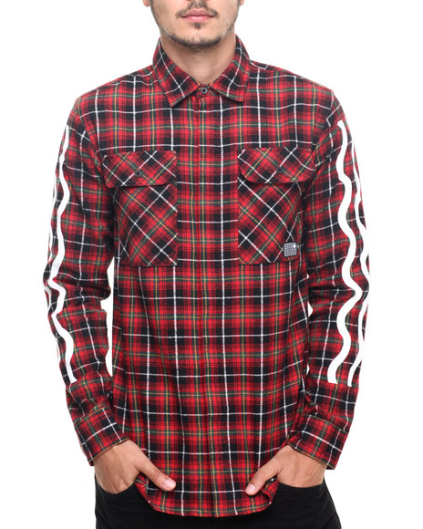 Pink Dolphin - Men Red Speed Promo Flannel L/S Button - Down