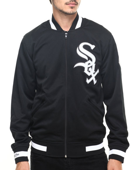 Mitchell & Ness - Men Black Chicago White Sox Authentic Full Zip Batting Practice Jacket