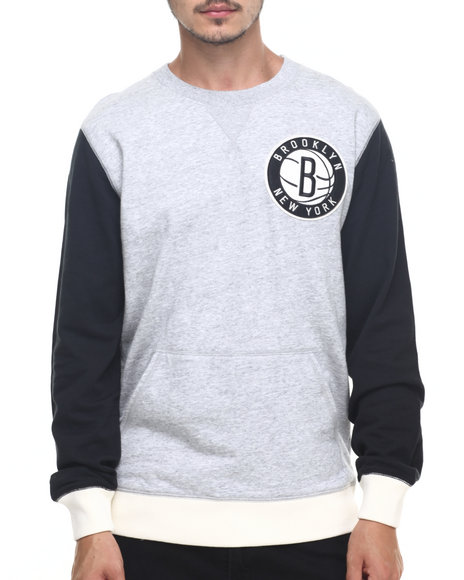 Mitchell & Ness - Men Grey Brooklyn Nets Nba Team To Beat Crew Sweatshirt