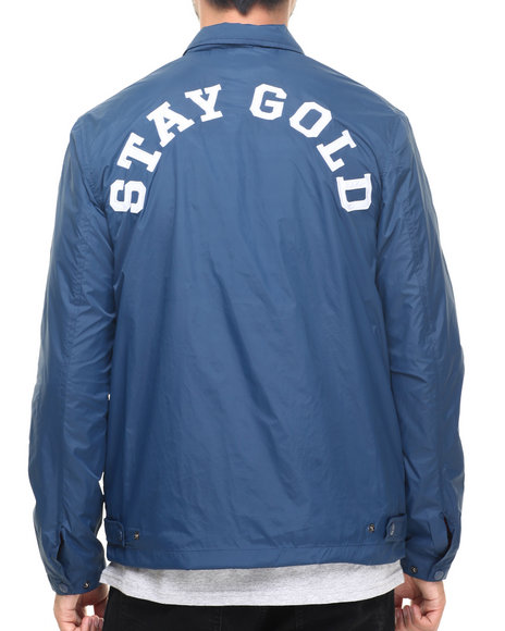 Benny Gold - Men Navy Stay Gold Nylon Jacket