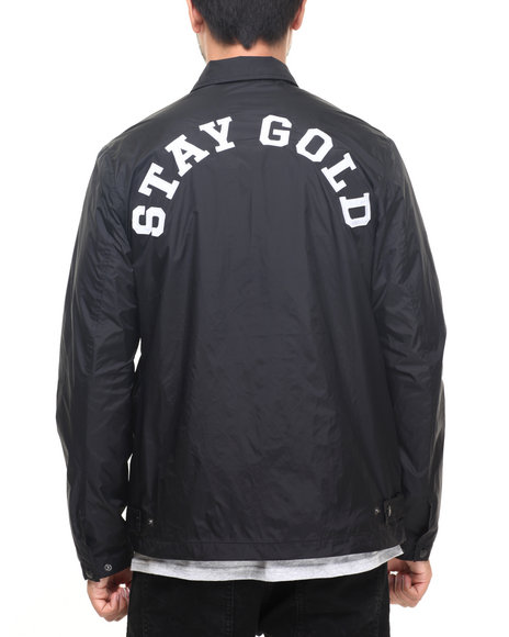 Benny Gold - Men Black Stay Gold Nylon Jacket