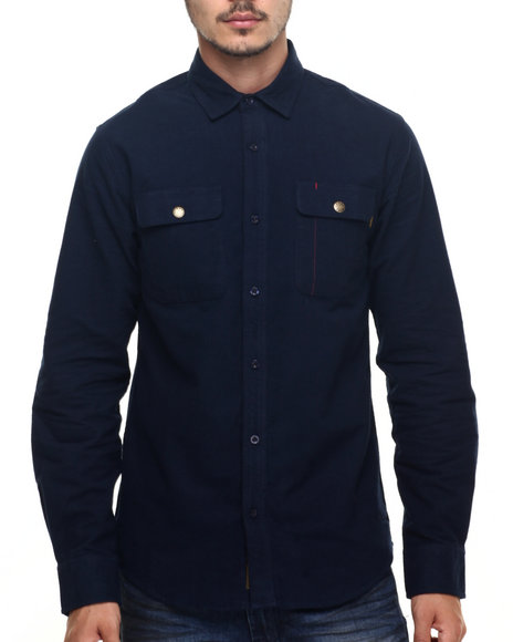 Benny Gold - Men Navy Aspen Flannel L/S Button-Down