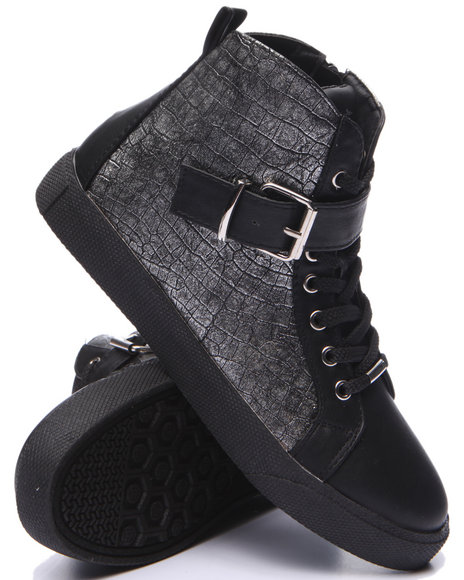 Fashion Lab - Women Black Cagney Faux Snake Embossed Sneaker