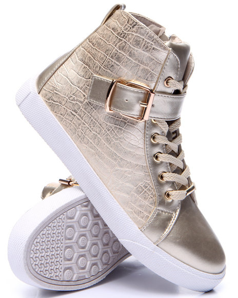 Fashion Lab - Women Gold Cagney Faux Snake Embossed Sneaker - $50.99