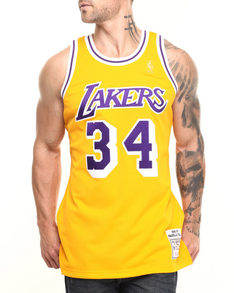 Mitchell & Ness - Men Yellow Shaquille O'neal Los Angeles Lakers Nba Authentic Jersey
