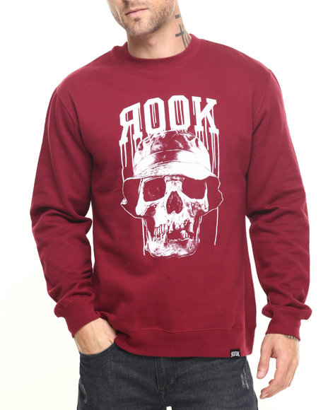 Rook - Men Maroon Bucket Head Crew Sweatshirt - $39.99