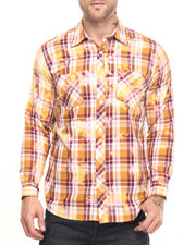 Akademiks - Checker Plaid Spot bleach button down shirt