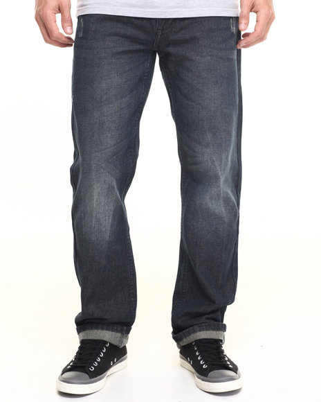 Akademiks - Men Vintage Wash Dean Raw Denim Jeans
