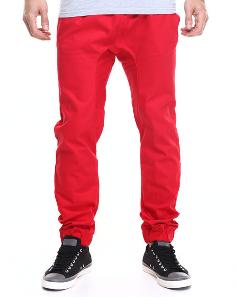 Akademiks - Men Red Nollie Twill Jogger Pants